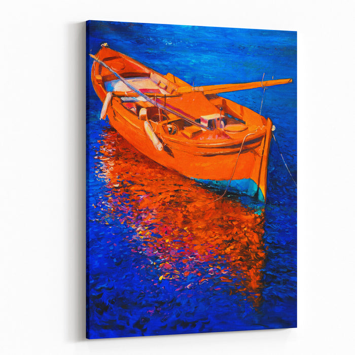 Original Oil Painting On Canvas Red Boat On The Blue Water Modern Impressionism Canvas Wall Art Print