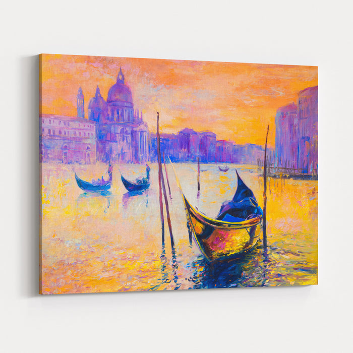 Original Oil Painting On CanvasVenice Painting With Gondolas Modern Impressionism Canvas Wall Art Print
