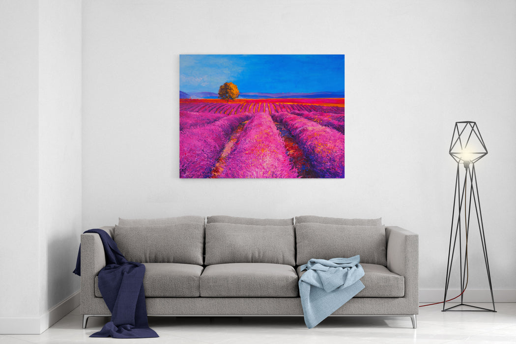 Original Oil Painting On Canvas Lavender Field, Provence France Modern Impressionism Canvas Wall Art Print
