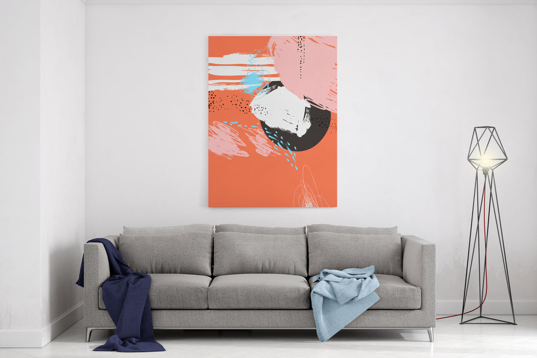 Abstract Painting Background Oil Paint On Canvas Memphis Design Banner Retro Style Decorative Vector Art Poster, Template Fashion Print Orange, Black, White, Pink, Blue, Gray, Brown Colors Canvas Wall Art Print