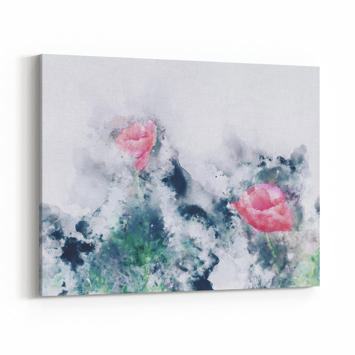 Abstract Red Poppy Flowers On Grunge And Splashed Watercolor Background, Digital Watercolor Painting Canvas Wall Art Print