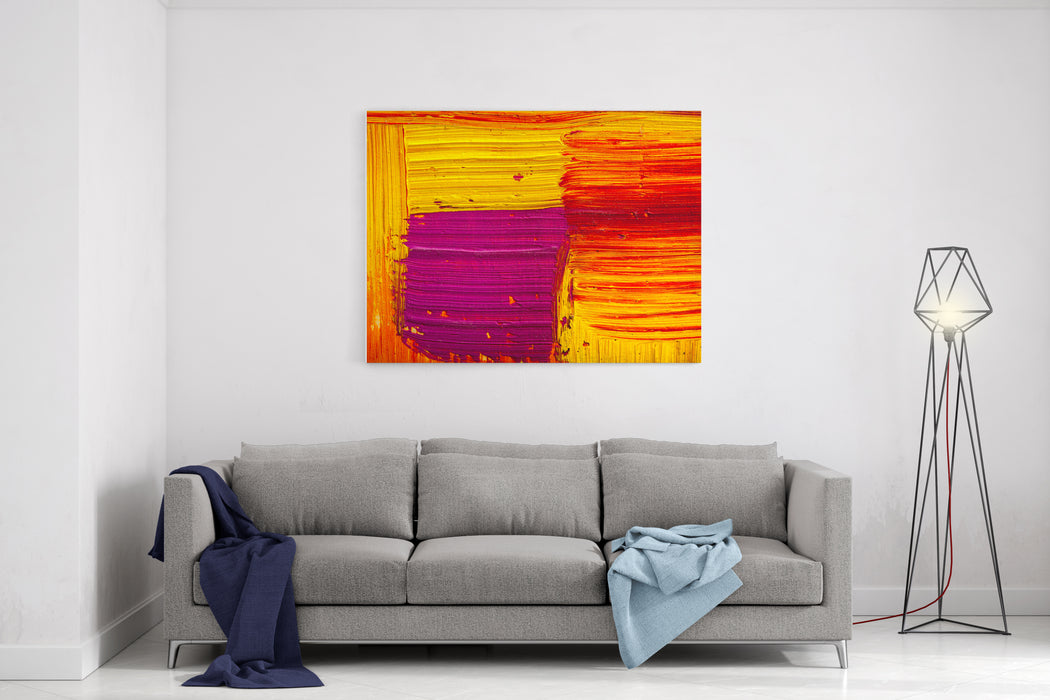 Abstract Painting Color Texture Bright Artistic Background In Red And Yellow Canvas Wall Art Print