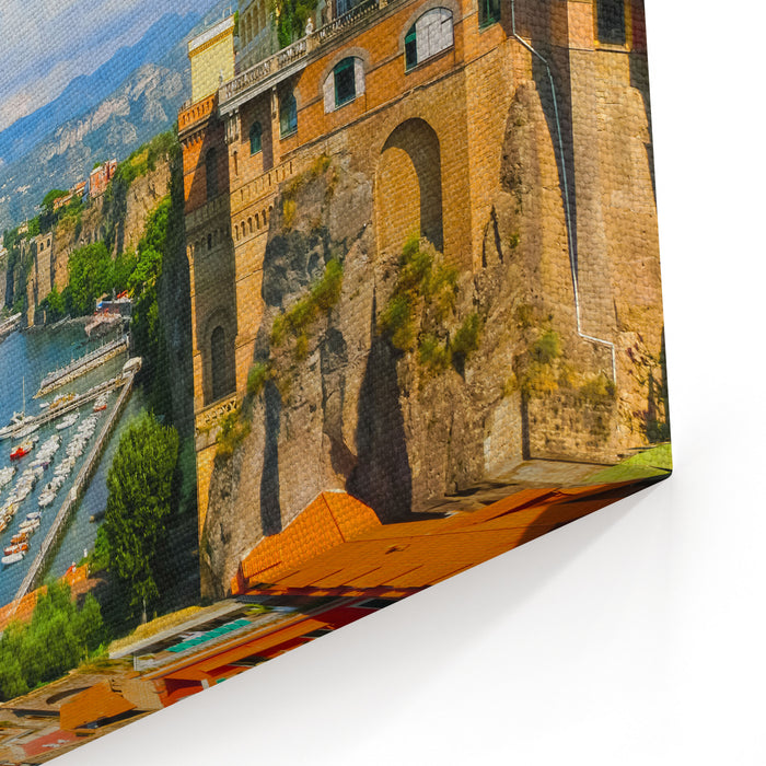 View Of The Coast In Sorrento Italy Canvas Wall Art Print
