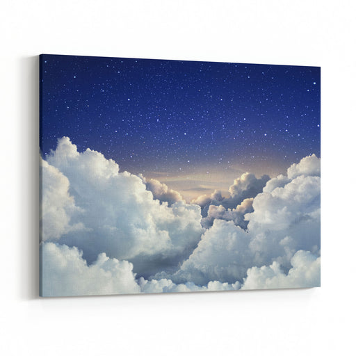 Beautiful Sky Background With Large Clouds Canvas Wall Art Print