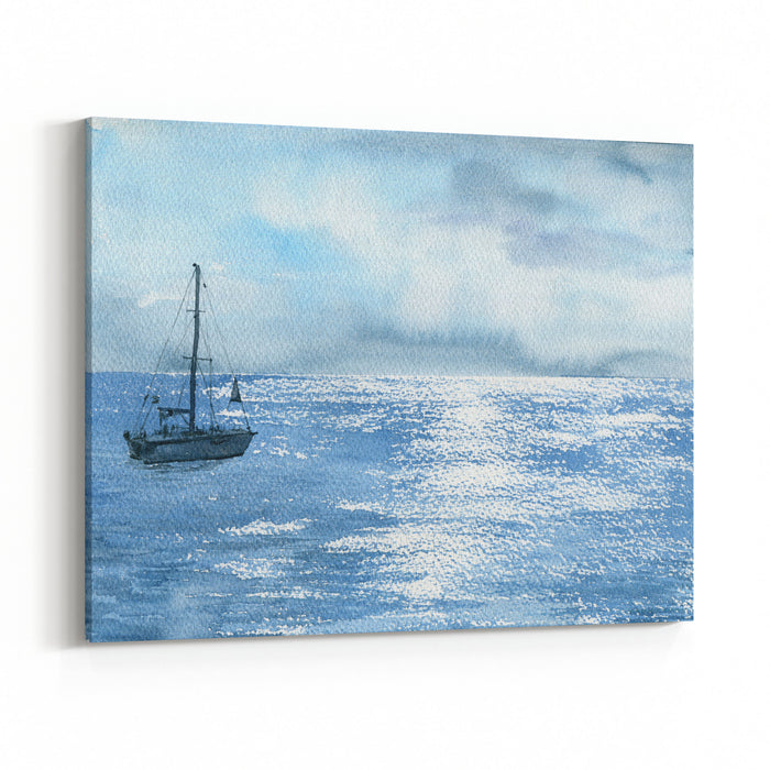 d9a50666b Watercolor Sea Boat And Cloudy Sky, Yacht And Solar Flares At Waves, Hand  Drawn