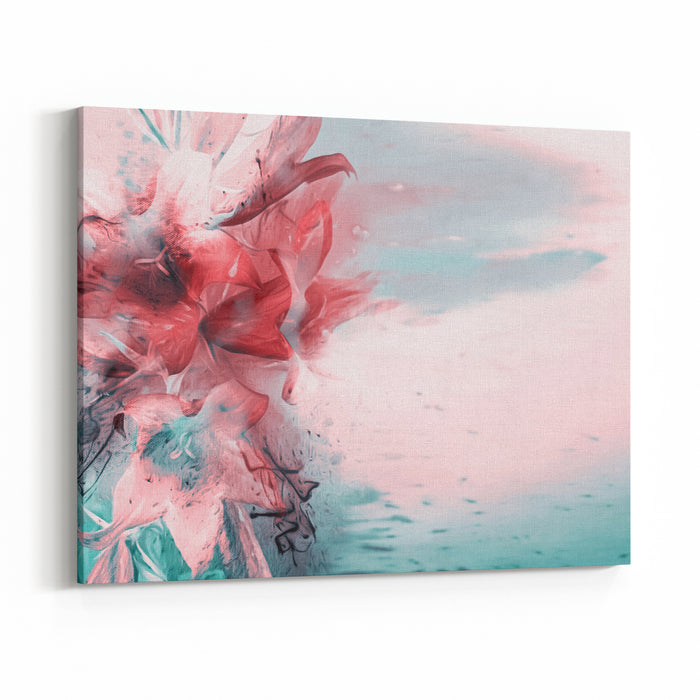 Artistic Lilies Bouquet Raster Illustration Canvas Wall Art Print