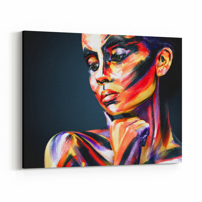 Portrait Of The Bright Beautiful Girl With Art Colorful Makeup And Bodyart Canvas Wall Art Print