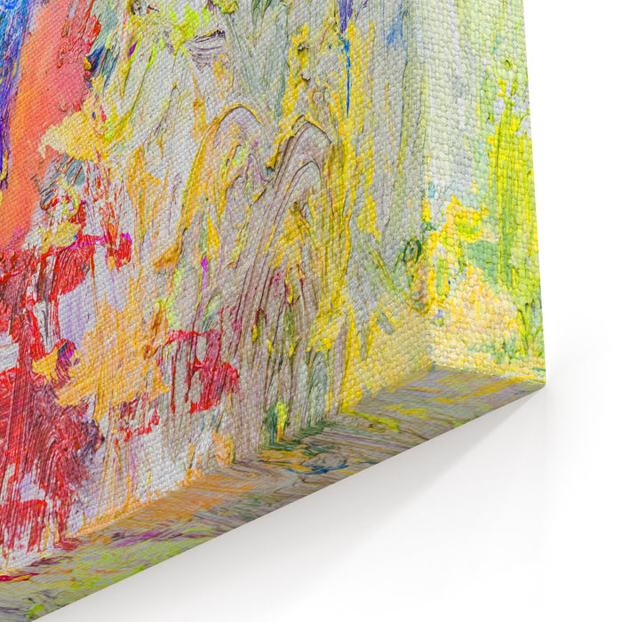 Colorful  Abstract Oil Painting Texture Background, Palette Knife, Thick Brush Strokes, Colorful  Background Canvas Wall Art Print