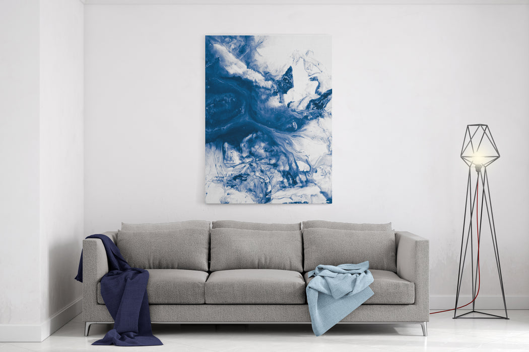 Blue Creative Abstract Hand Painted Background, Wallpaper, Texture, Acrylic Painting On Canvas Modern Art Contemporary Art Canvas Wall Art Print