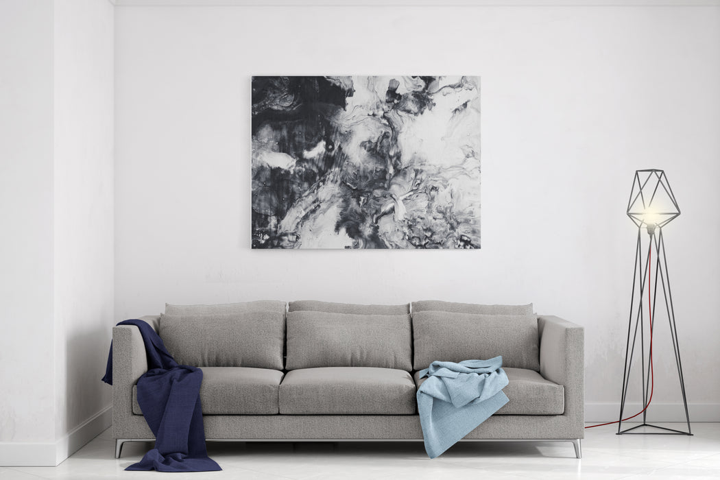 Abstract Hand Painted Black And White Background, Acrylic Painting On Canvas, Wallpaper, Texture Canvas Wall Art Print