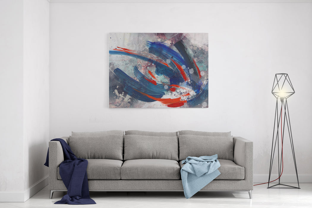 Abstract Painted Background  Expressive Brush Strokes Art Texture Canvas Wall Art Print