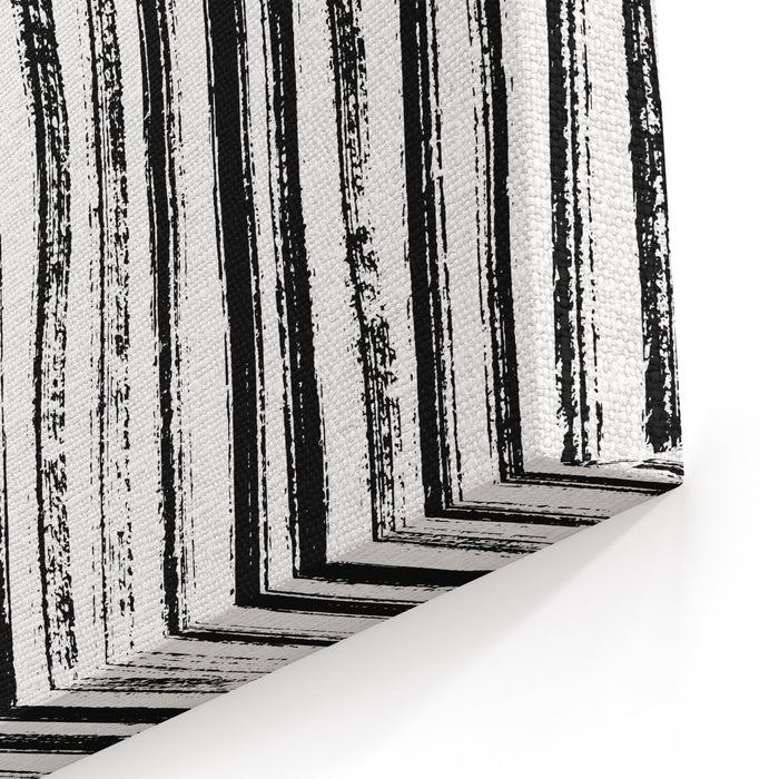 Ink Stripes Texture Zebra Print, Pattern Abstract Painting Background Vector Illustration Black And White, Gray Hand Drawn Artwork Poster, Banner Canvas Wall Art Print