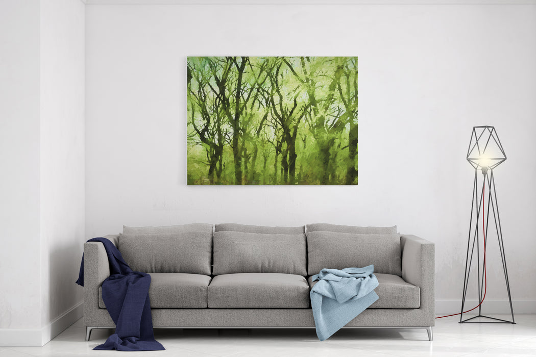 Springtime Trees In Central Park, New York City Transformed Into A Colorful Abstract Painting Canvas Wall Art Print
