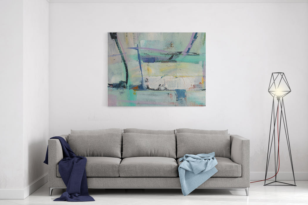 Texture Painting Abstract Art Background Acrylic  On Canvas Rough Brushstrokes Of Paint Canvas Wall Art Print