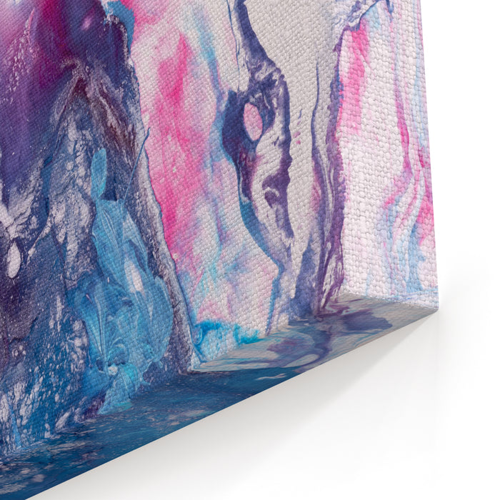 Blue And Pink Hand Painted Background, Closeup Fragment Of Acrylic Painting On Canvas  Modern Art Contemporary Art Canvas Wall Art Print