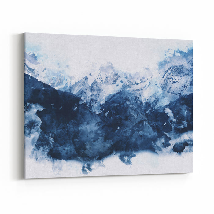 Abstract Mountains In Blue Tone,  Digital Watercolor Painting Canvas Wall Art Print