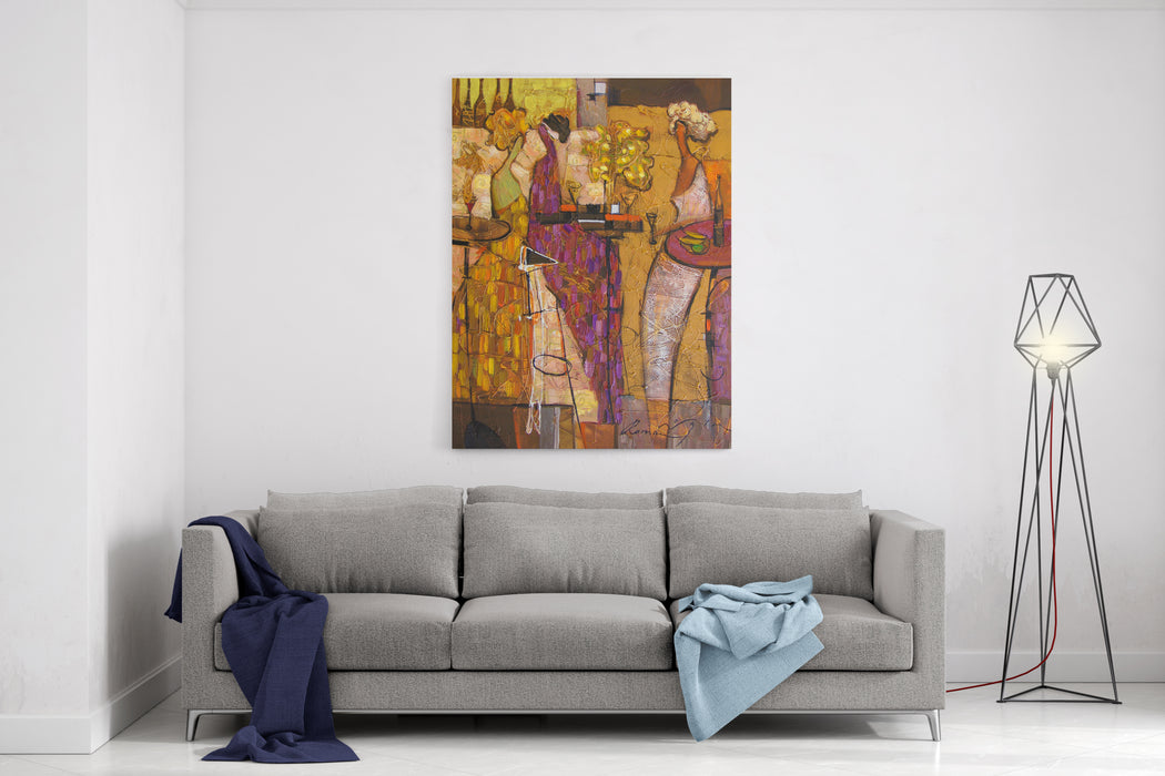 Texture, Oil, Painting,  Roman Nogin, BEVY Series, Abstract Painting ,girls In A Night Club,sale Original  Contact Facebook Canvas Wall Art Print