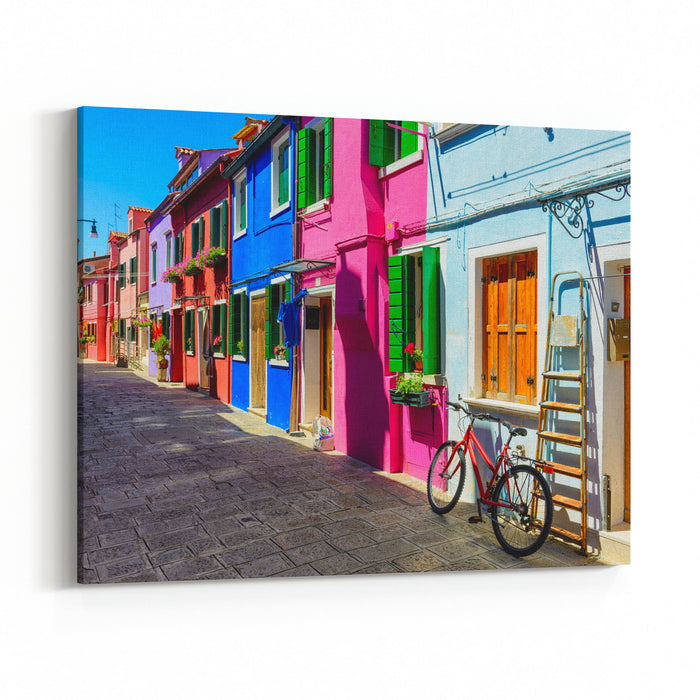 Street With Colorful Buildings In Burano Island, Venice, Italy Architecture And Landmarks Of Venice, Venice Postcard Canvas Wall Art Print