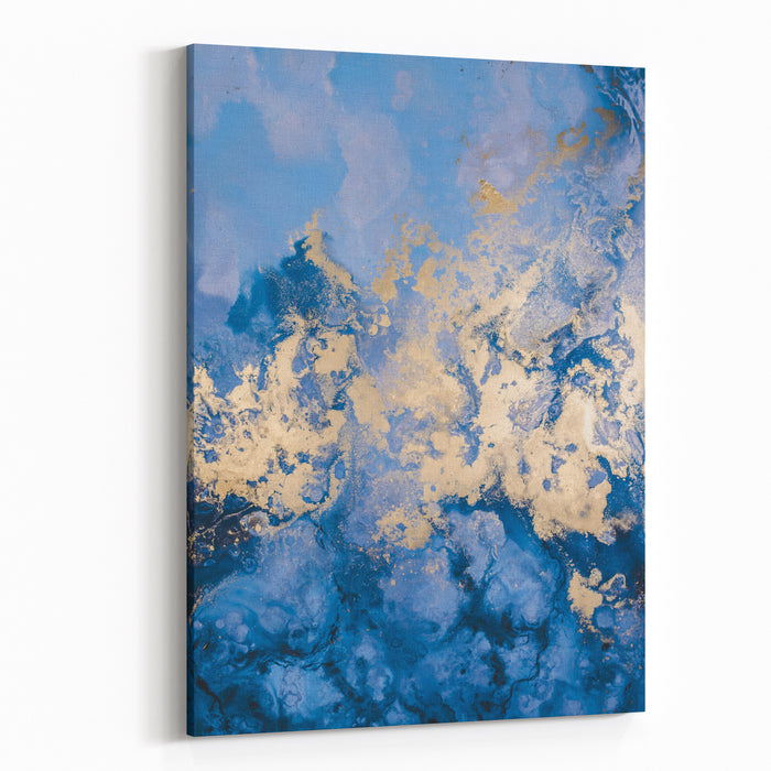 Abstract Blue And Gold In Water Color Canvas Wall Art Print