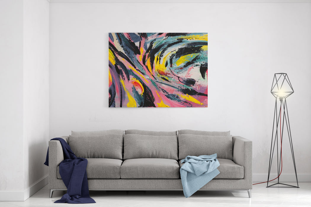 Spring Festival Multicolored Texture Painting Abstract Art Background Acrylic On Canvas Rough Brushstrokes Of Paint Canvas Wall Art Print