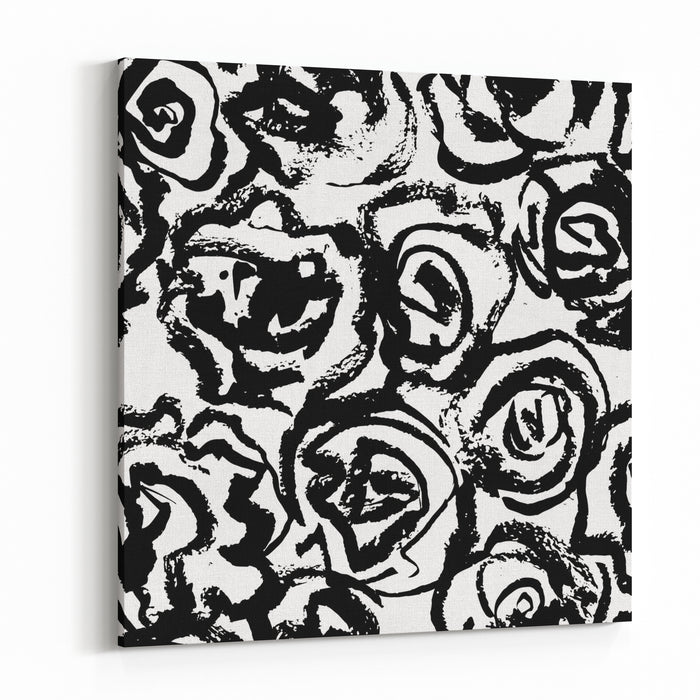 Creative Flower Seamless Pattern Textures Made With Black Ink Hand Brush Painting For Your Designs Logo, For Posters, Invitations, Cards, Etc Vector Canvas Wall Art Print