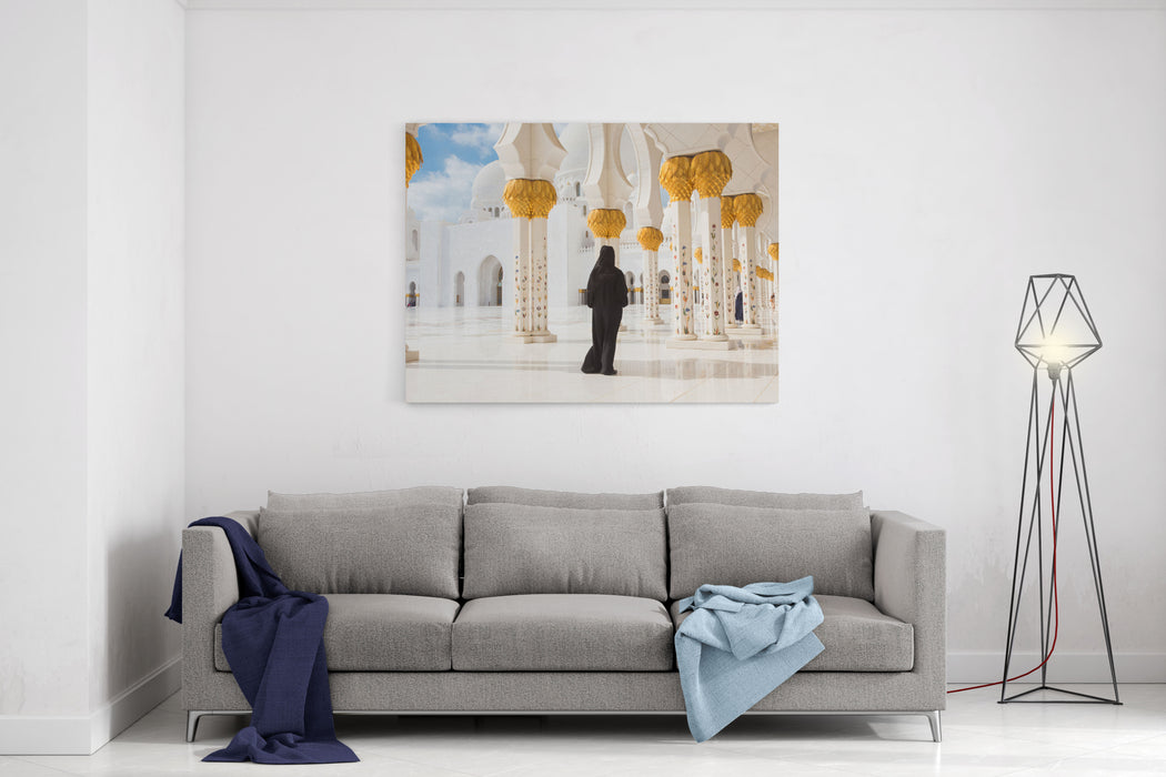 Traditionally Dressed Arabic Woman Wearing Black Burka Wisiting Sheikh Zayed Grand Mosque In Abu Dhabi, United Arab Emirates Canvas Wall Art Print