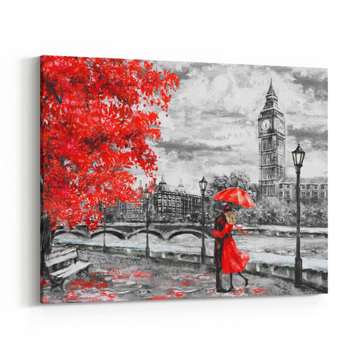 Oil Painting On Canvas, Street Of London Artwork Big Ben Man And WomanUnder An Red Umbrella Tree England Bridge And River Canvas Wall Art Print