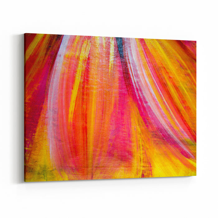 Red And Yellow Color Shades Painted Flower Petals On Canvas Texture Canvas Wall Art Print