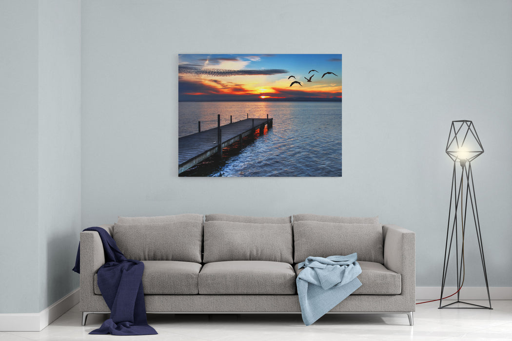 Gulls Fly Over The Sea Canvas Wall Art Print