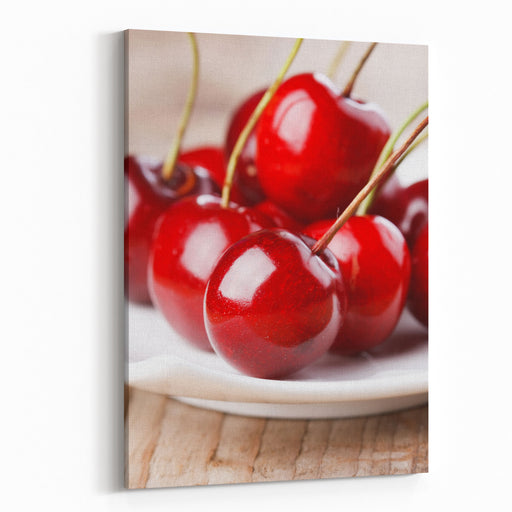Fresh Cherries Canvas Wall Art Print
