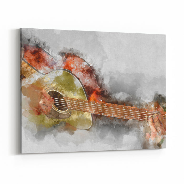 Abstract Guitarist In The Foreground Close Up, Watercolor Painting Background And Digital Illustration Brush To Art Canvas Wall Art Print