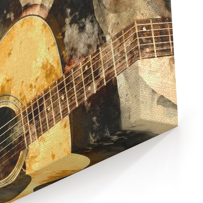 Abstract Beautiful Woman Playing Guitarist In The Foreground Close Up, Watercolor Painting Background And Digital Illustration Brush To Art Canvas Wall Art Print