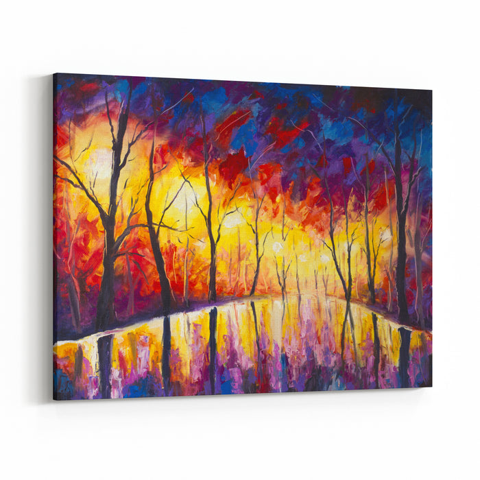 Original Expressionism Oil Painting Evening Park Cityscape, Beautiful Reflection On Wet Asphalt On Canvas Abstract Violetorange Lonely Night Park Palette Knife Artwork Impressionism Art Canvas Wall Art Print