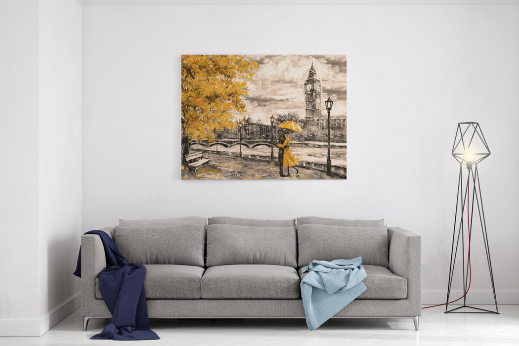 Oil Painting On Canvas, Street Of London Artwork Big Ben Man And Woman Under An Yellow Umbrella Tree England Bridge And River Canvas Wall Art Print