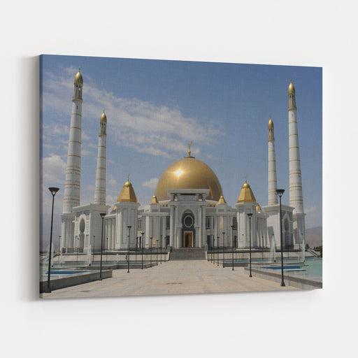 Mosque In Ashbagat, Turkmenistan Canvas Wall Art Print
