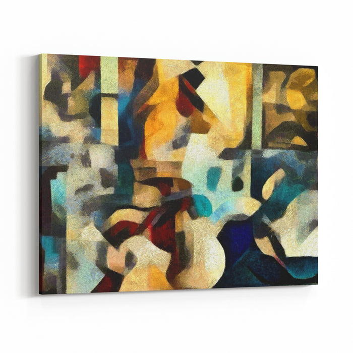 Bright Colored Abstraction Executed In Oil On Canvas With Elements Of Pastel Painting Modern Style In Interior Design, Office And Home Canvas Wall Art Print