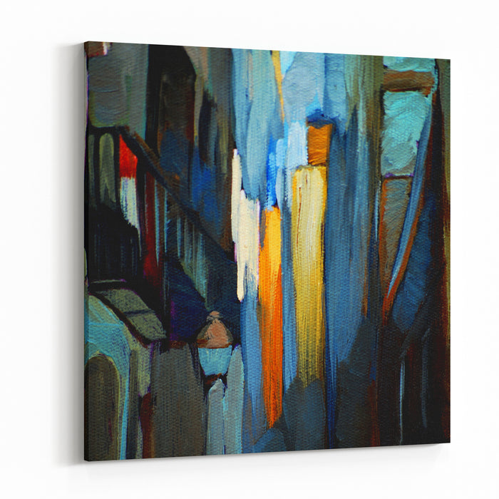 Architectural Abstract Painting, Painting, Illustration Canvas Wall Art Print