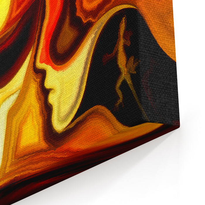 Painting Of Female And Male Profiles On The Topic Of Romance, Relationship And Love Canvas Wall Art Print