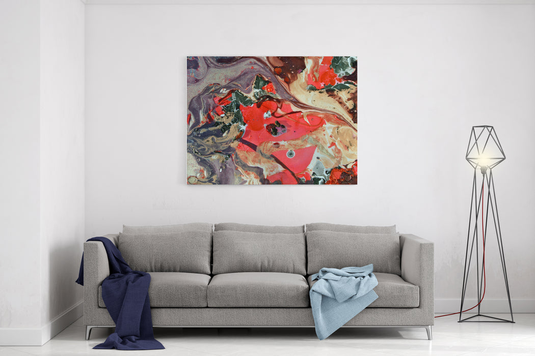 Abstract Painting Modern Artwork Marble Effect Painting Unusual Handmade Background For Poster, Card, Invitation Acrylic Paints Canvas Wall Art Print