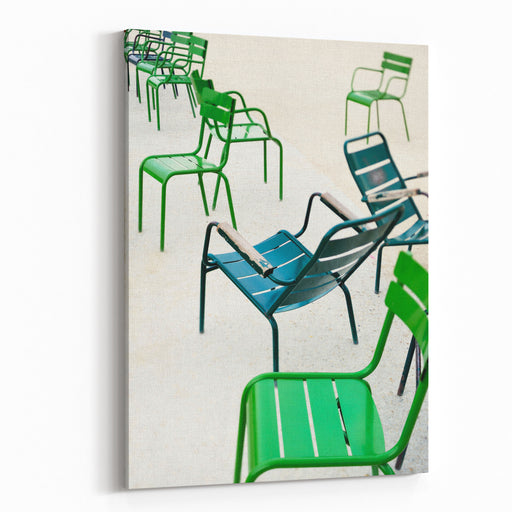 Green Metallic Chairs In The City Park Photo With Tiltshift Lens Canvas Wall Art Print