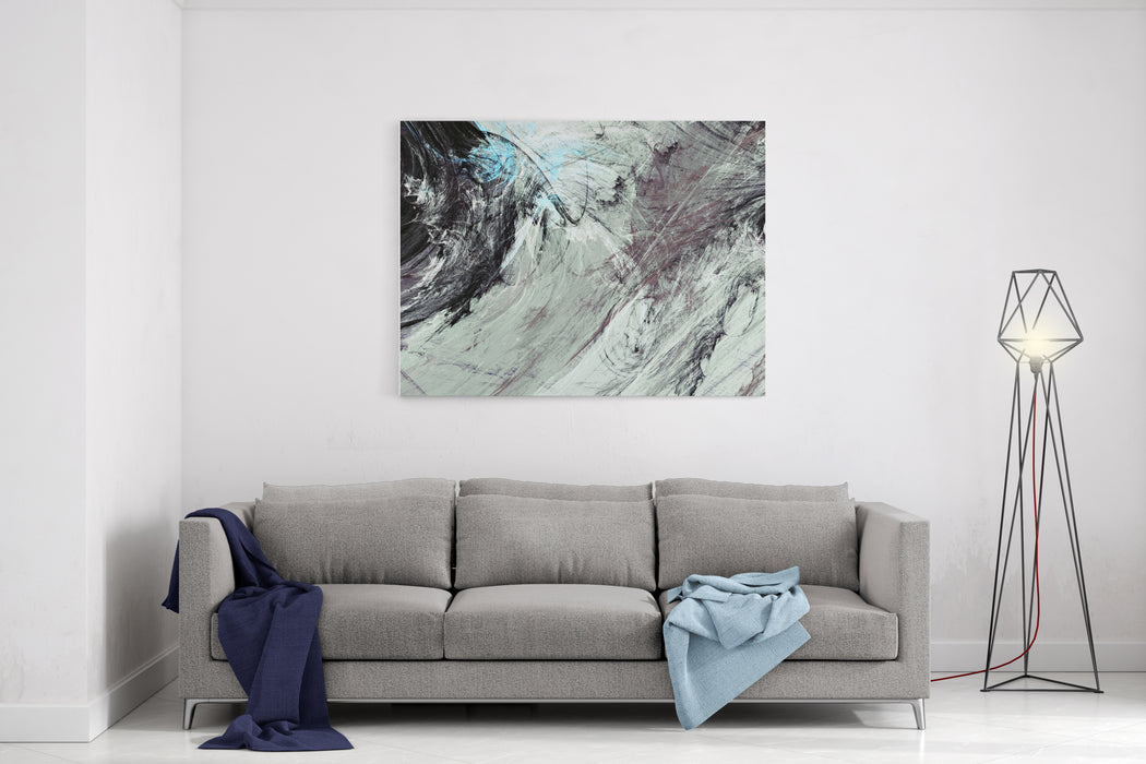 Abstract Painting Soft Color Texture Bright Artistic Background Grey And Blue Dynamic Pattern Fractal Artwork For Creative Graphic Design Canvas Wall Art Print