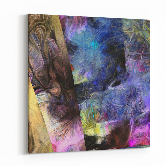 Abstract Painting Brush Strokes Mostly In Violet Blue Canvas Wall Art Print