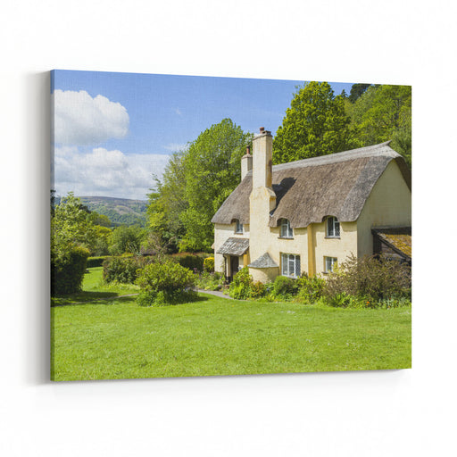 Thatched Roof Cottage In A Typical English Village With Scenic Views Of Exmoor National Park Copy Space For Text Canvas Wall Art Print