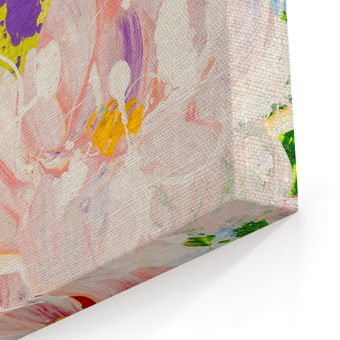 Abstract Flowers Hand Painted Background, Closeup Fragment Of Acrylic Painting On Canvas Modern Art Contemporary Art Canvas Wall Art Print
