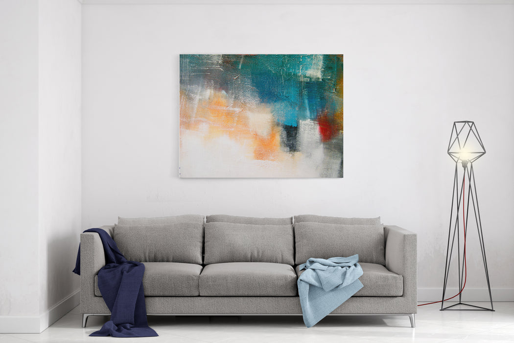 Painted Canvas Texture Colors Shadings Acrylic Painting Contemporary Art Mix Media Canvas Wall Art Print