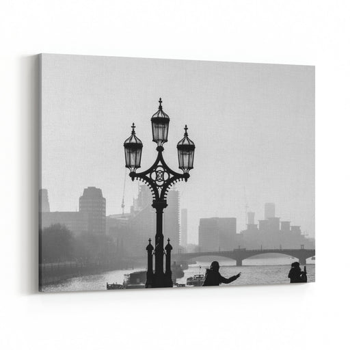 Silhouetted Lamppost On Westminster Bridge London With Panoramic View Of Lambeth Bridge Behind It Black And White Street Photography Canvas Wall Art Print