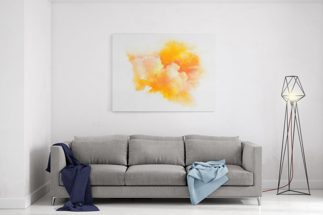 Watercolor Illustration Of Sky With Cloud Artistic Natural Painting Abstract Background Canvas Wall Art Print