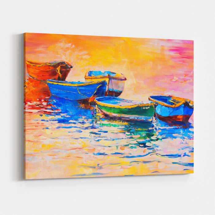 Original Oil Painting On Canvas Boats And Sunset Modern Impressionism Canvas Wall Art Print