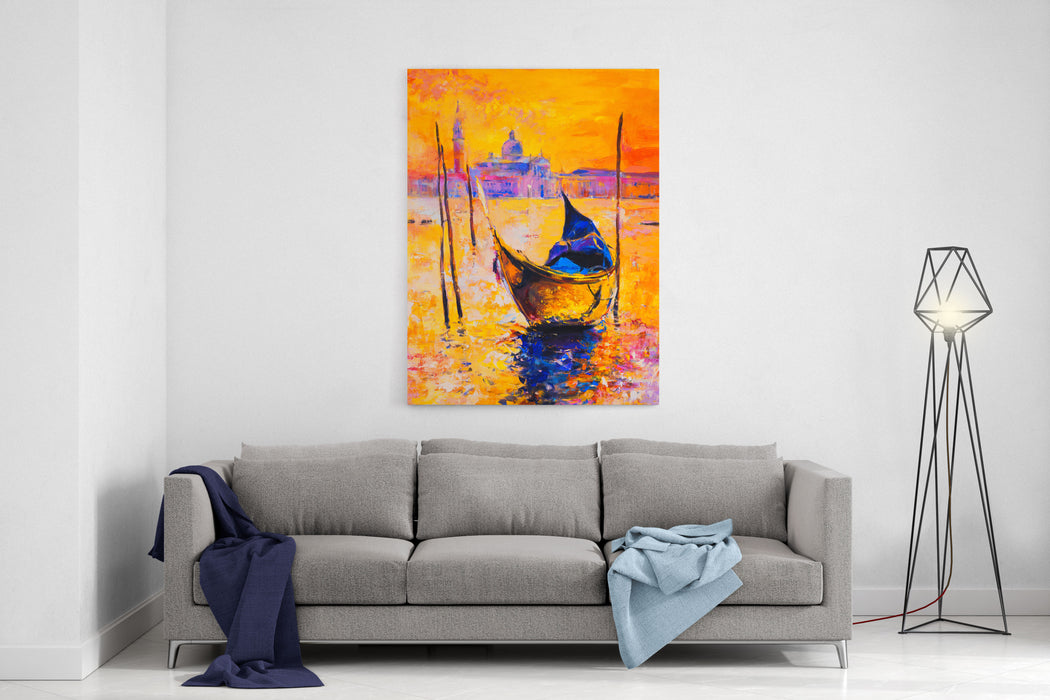 Original Oil Painting On CanvasVenice Painting With Gondola Modern Impressionism Canvas Wall Art Print