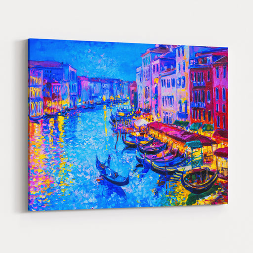 Original Oil Paintinggondola Boat And Venice  Modern Impressionism Canvas Wall Art Print